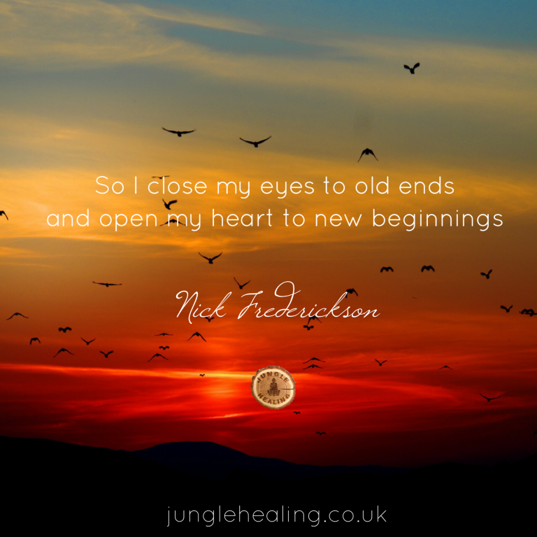 Affirmation of the week about embracing new beginnings by poet and author Nick Frederickson against a sunrise backdrop with birds in the sky.